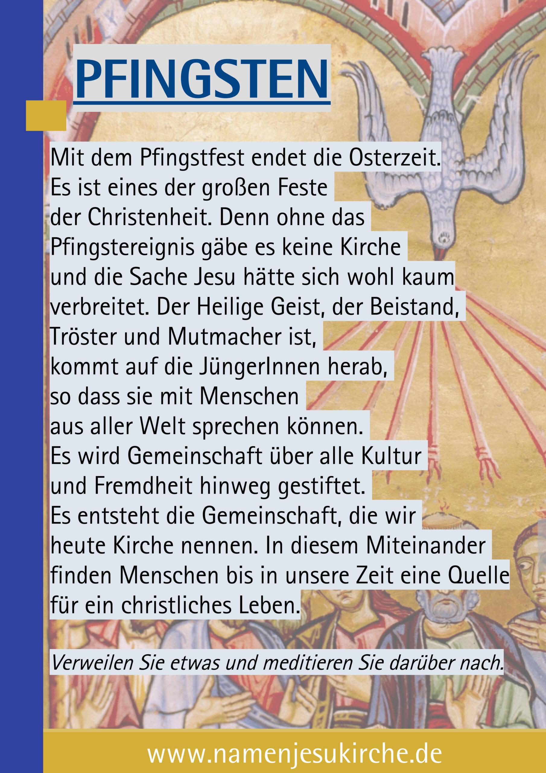 Plakat zu Pfingsten